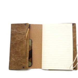 Pochette/custodia con tasche e quaderno in carta riciclata con 30 fogli