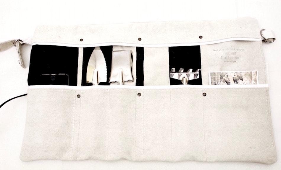 Trousse da giardino in vela di cotone e con cintura regolabile con utensili da giardino in acciaio